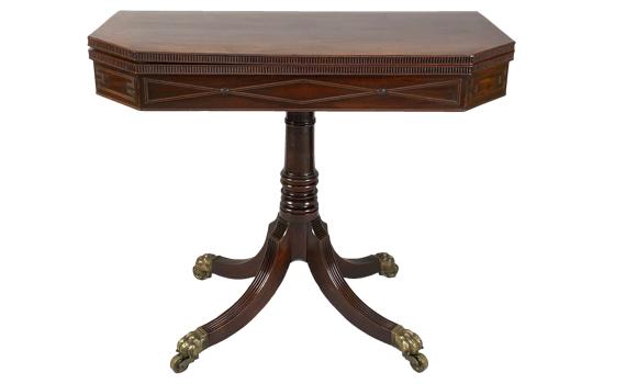 Antique George IV Mahogany Pedestal Card Table