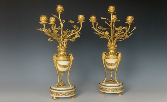 Antique Louis XVI Style Gilt Bronze & Marble Candelabra