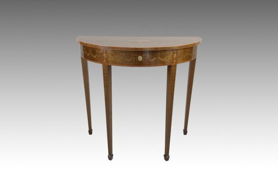 Antique Edwards & Roberts Inlaid Mahogany Demi Lune Table
