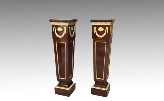 Antique Pair of Victorian Ormolu Mounted Mahogany Pedestals Louis XVI Style
