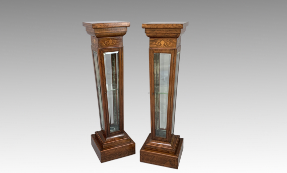 Antique Pair of Victorian Rosewood Display Pillars