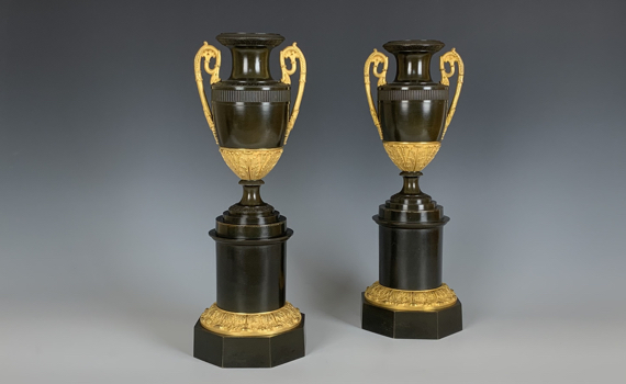 Antique French Restauration Bronze & Gilt Urns