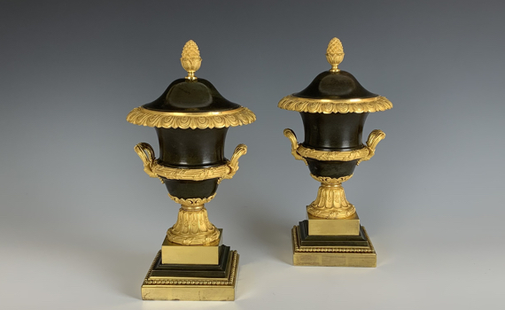 Antique pair of Bronze & Gilt Urns & Covers