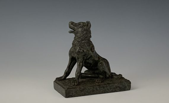 Antique Grand Tour Italian Carved Serpentine Alcibiades Dog