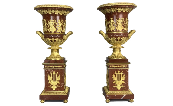 Antique French Empire Style Marble & Gilt Bronze Urns