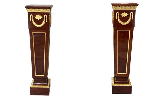 Antique Pair of Victorian Ormolu Mounted Mahogany Pedestals Louis XVI Style