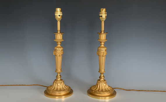 Antique Ormolu Candlesticks Louis XVI Style Table Lamps