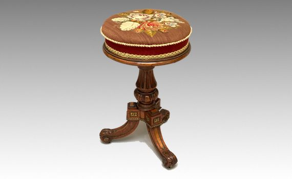 Antique Holland & Son Walnut Ormolu Mounted Piano Stool