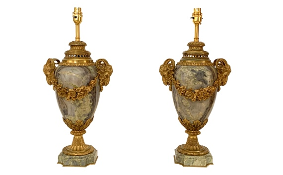 Antique Pair of French Marble & Ormolu Mounted Table Lamps