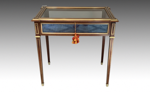 Antique Mahogany & Brass Inlaid Bijouterie Table