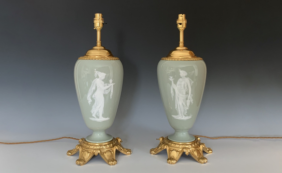 Antique Pair of French Pate Sur Pate Ormolu Mounted Lamps