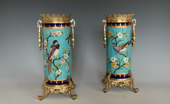A Pair of French Antique Porcelain Spill Vases in The Japonaise Style