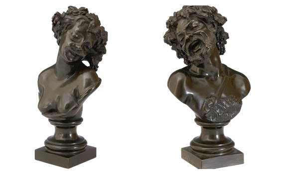 After Claude Michel Clodion a pair of Antique Bronze Busts