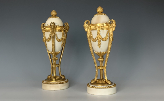 Antique Pair of Napoleon III Gilt Bronze & Marble Cassolettes