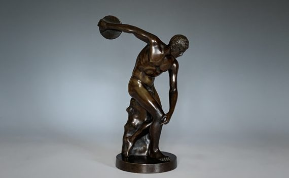 Antique Bronze Figure of the Discus Thrower Discobolus of Myron