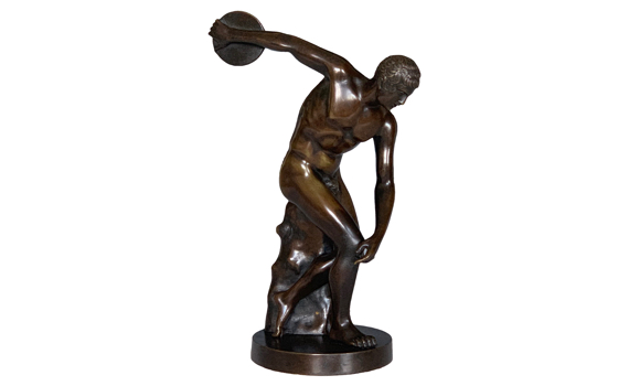 Antique Bronze Figure of the Discus Thrower Discobolus of Myron