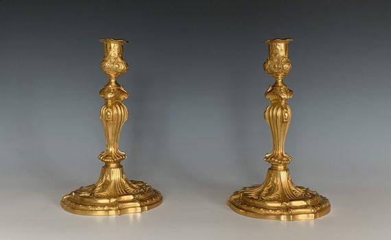 Antique Louis XV Style Ormolu Candlesticks