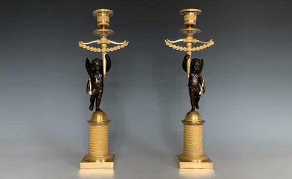 Antique French Pair of Empire Gilt Bronze Cherub Candlesticks