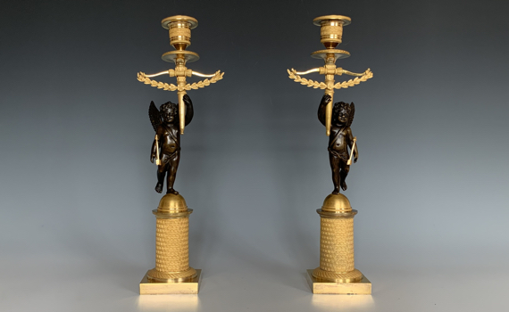 Antique French Pair of Empire Gilt Bronze Cherub Candlesticks