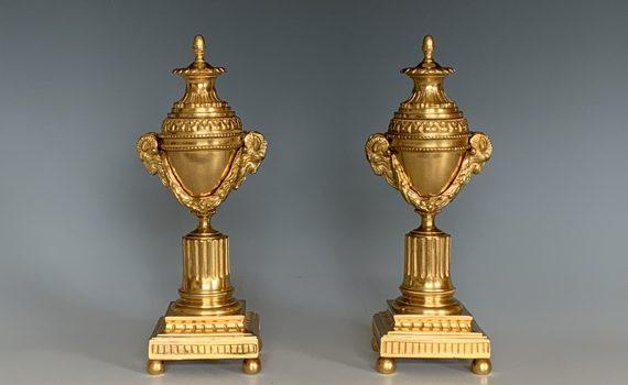 Antique Pair of Gilt Bronze Cassolettes