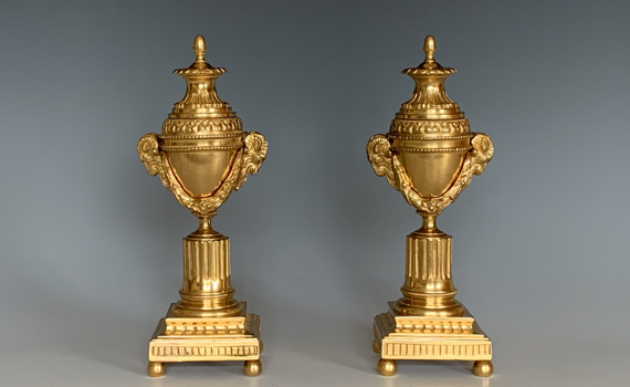 Antique Pair of Gilt Bronze Cassolettes