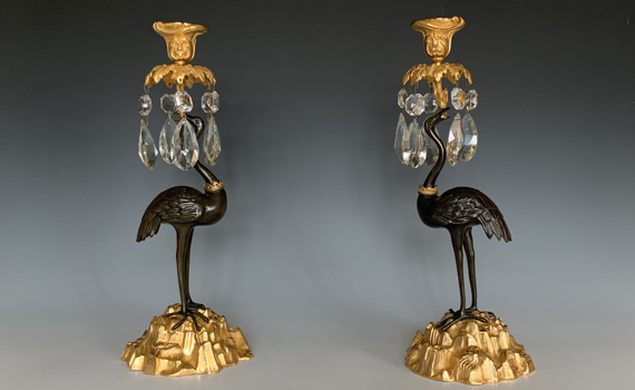 Antique Thomas Abbott Ormolu Stork Candlesticks
