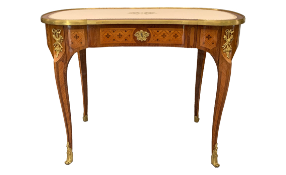 Antique Purpleheart & Tulipwood Ormolu Mounted Writing Table by Durand