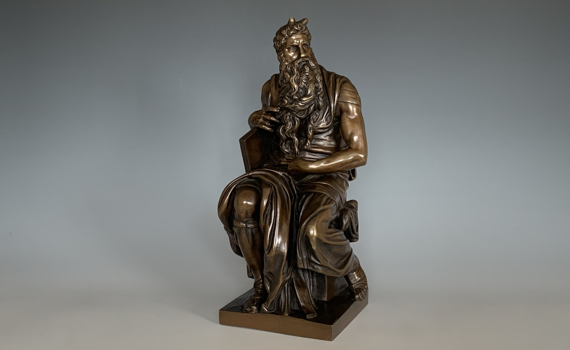 Antique Bronze Moses after Michelangelo Cast by F P Sanson
