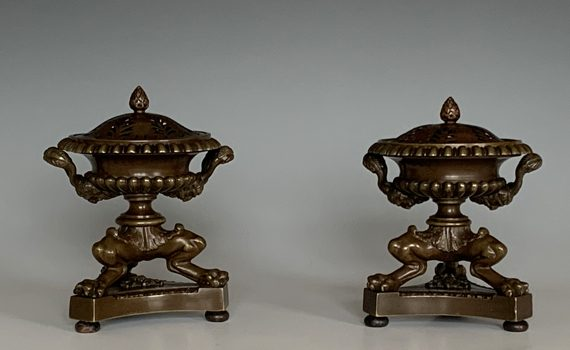 Antique 19th Century English Pair of Pastille Burners