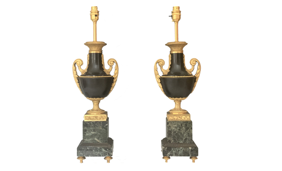 Pair of Louis XVI Style 19th Century Gilt & Patinated Bronze Table Lamps