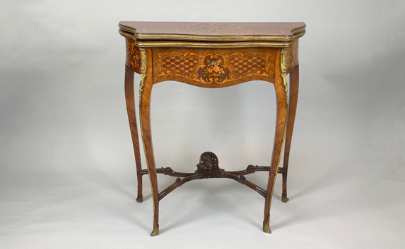 Antique French Napoleon III Marquetry Card Table