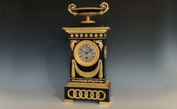 Antique French Restauration Period Bronze & Gilt Timepiece by Cleret