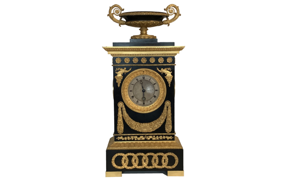 Antique French Restauration Period Bronze & Gilt Timepiece by Cleret