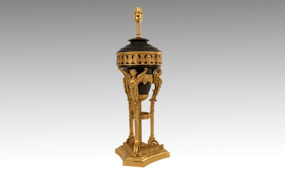 Antique Patinated & Gilt Bronze Table Lamp in the Regency Taste