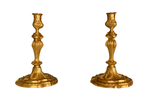 Antique Louis XV Style Ormolu Candlesticks