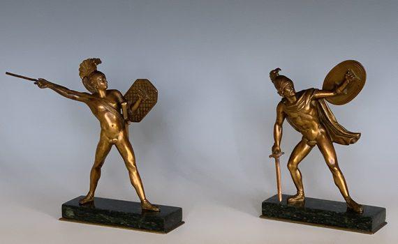 Pair of Antique Italian Bronze Figures of Romulus & Titus Tatius in the Grand Tour Style