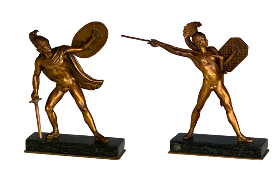 Pair of Antique Italian Bronze Figures of Romulus & Titus Tatius in the Grand Tour Style