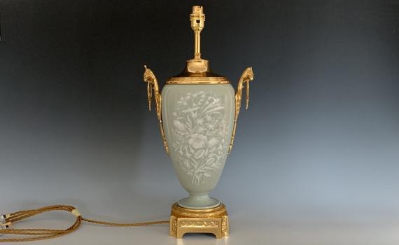 Antique French Celadon Pate-sur-Pate Table Lamp