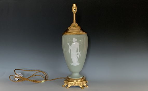 Antique Celadon Ground French Pate-sur-Pate Table Lamp