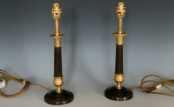 Antique French Gilt & Patinated Bronze Candlestick Table Lamps