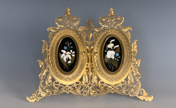 Antique 19th Century Gilt Photograph Frame with Florentine Pietra Dura Panels