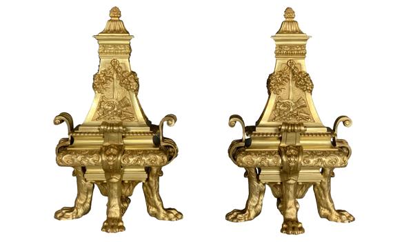 Antique Victorian Ormolu Chenets