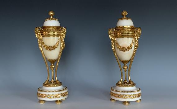 Antique Napoleon III Marble & Gilt Bronze Cassolettes
