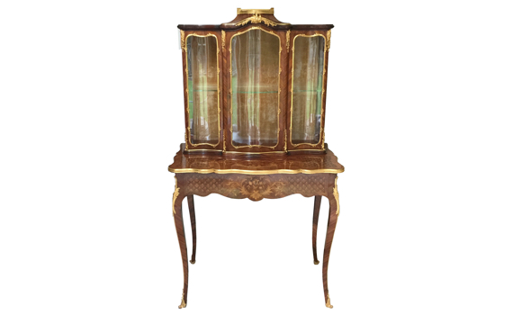 Antique French Kingwood Ormolu Mounted Vitrine on Stand