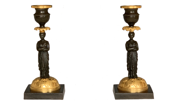 Antique Pair of George IV Gilt & Patinated Bronze Zodiac Candlesticks