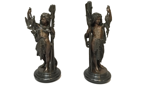 Antique French Pair of Bronzes After Albert Carrier-Belleuse