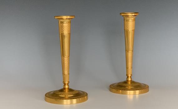 Antique Pair of French Empire Ormolu Bronze Candlesticks