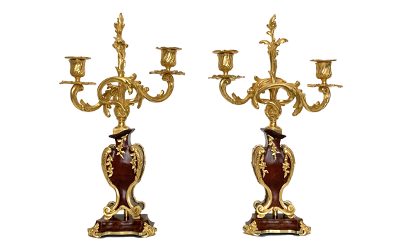 Antique Boulle Style 19th Century Pair of Ormolu & Tortoiseshell Candelabra