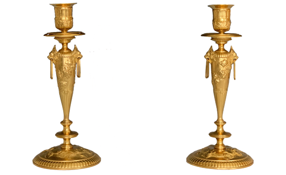Antique 19th Century French Gilt Bronze Candlesticks