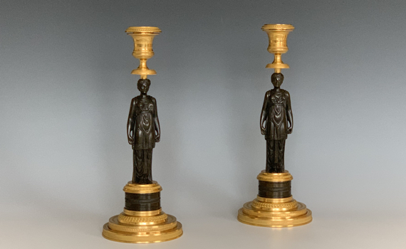 Antique French Empire Gilt & Patinated Bronze Candlesticks